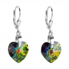 Stříbrné náušnice srdce Crystals from Swarovski®, Vitrail Medium