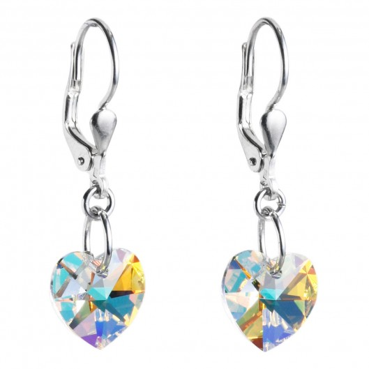 Stříbrné visací náušnice s krystaly Crystals from Swarovski®, AB