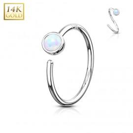 Zlatý piercing - kruh, bílý opál, Au 585/1000