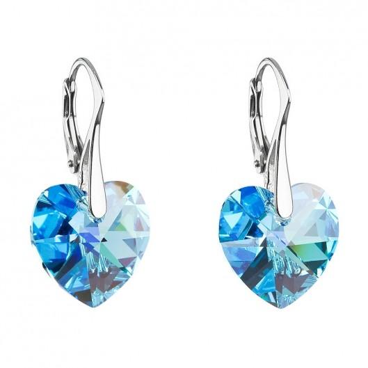 Stříbrné náušnice srdce Crystals from Swarovski®, Aqua