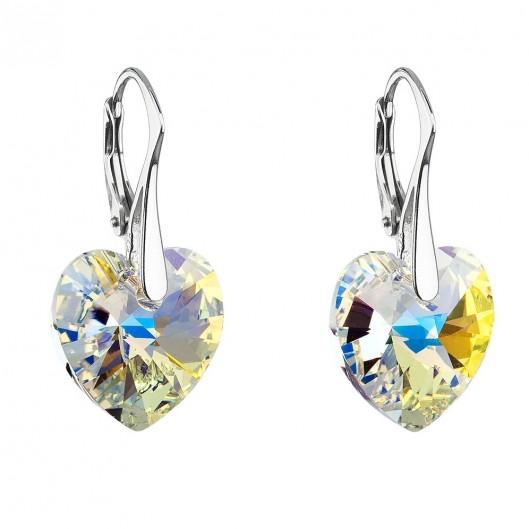 Stříbrné náušnice srdce Crystals from Swarovski®, AB