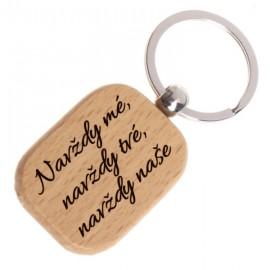 Dřevěný přívěšek na klíče - obdélník zaoblený
