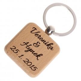 Dřevěný přívěšek na klíče - čtverec zaoblený