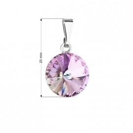 Přívěsek bižuterie se Swarovski krystaly fialový kulatý 54001.5