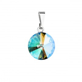 Přívěsek bižuterie se Swarovski krystaly zelený fialový kulatý 54001.5