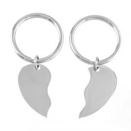 2 ks ocelových přívěšeků na klíče - dělené srdce