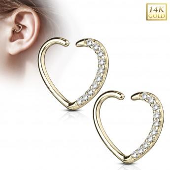 Zlatý cartilage piercing do ucha - srdíčko, Au 585/1000
