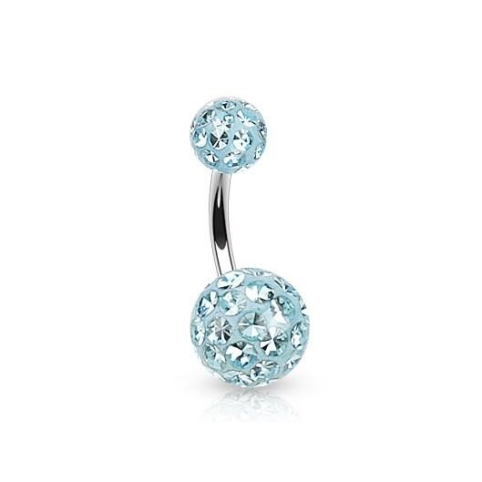 Piercing do pupíku - kulička SWAROVSKI® krystaly, tyrkysová barva