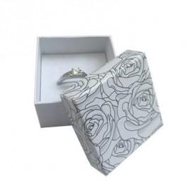 Malá dárková krabička na prsten s růžemi, barva šedá