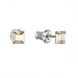 Náušnice bižuterie se Swarovski krystaly zlatá čtverec 51052.5