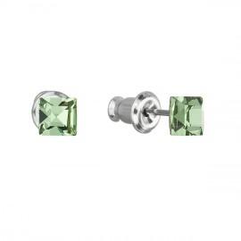 Náušnice bižuterie se Swarovski krystaly zelená čtverec 51052.3