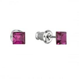 Náušnice bižuterie se Swarovski krystaly růžová čtverec 51052.3 fuchsia