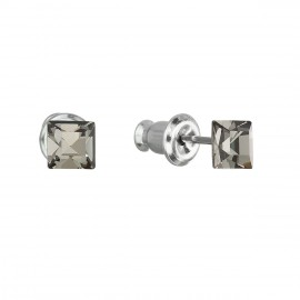 Náušnice bižuterie se Swarovski krystaly šedá čtverec 51052.3