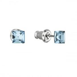Náušnice bižuterie se Swarovski krystaly modrá čtverec 51052.3