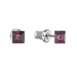 Náušnice bižuterie se Swarovski krystaly fialová čtverec 51052.3 amethyst