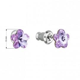 Náušnice bižuterie se Swarovski krystaly fialová kytička 51051.3
