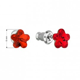 Náušnice bižuterie se Swarovski krystaly červená kytička 51051.3