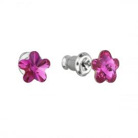 Náušnice bižuterie se Swarovski krystaly růžová kytička 51051.3 fuchsia