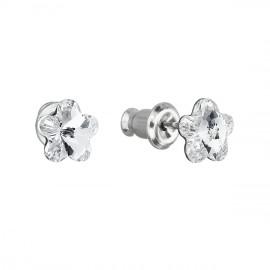Náušnice bižuterie se Swarovski krystaly bílá kytička 51051.1