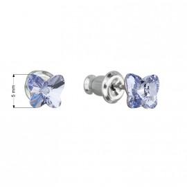 Náušnice bižuterie se Swarovski krystaly modrý motýl 51049.3 lavender