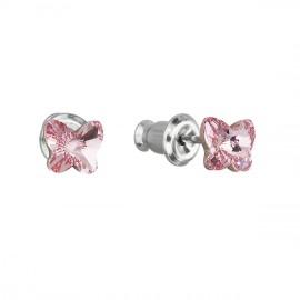 Náušnice bižuterie se Swarovski krystaly růžový motýl 51049.3
