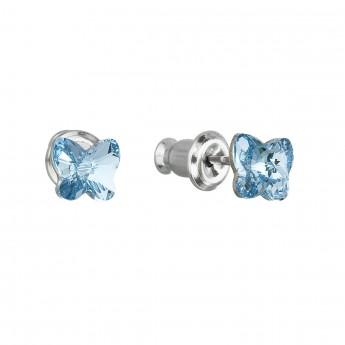 Náušnice bižuterie se Swarovski krystaly modrý motýl 51049.3 aqua