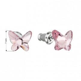 Náušnice bižuterie se Swarovski krystaly růžový motýl 51048.3 light rose