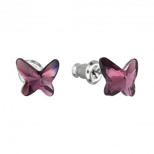 27f3ba23347 Náušnice bižuterie se Swarovski krystaly fialový motýl 51048.3