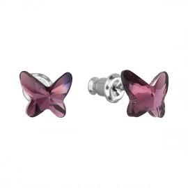 Náušnice bižuterie se Swarovski krystaly fialový motýl 51048.3