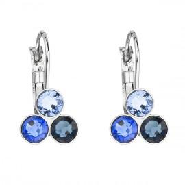 Náušnice bižuterie se Swarovski krystaly modré kulaté 51047.3