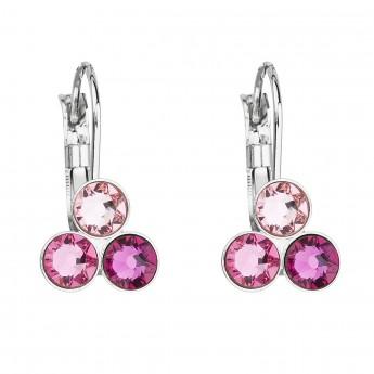 Náušnice bižuterie se Swarovski krystaly růžové kulaté 51047.3