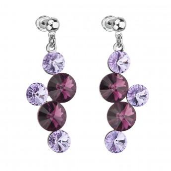 Náušnice bižuterie se Swarovski krystaly fialové kulaté 51046.3