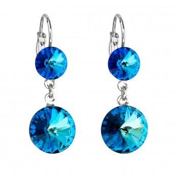 Náušnice bižuterie se Swarovski krystaly modré kulaté 51044.5