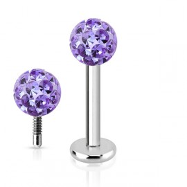 Piercing do brady labreta s krystaly Crystals from SWAROVSKI® 1,2 x 8 mm