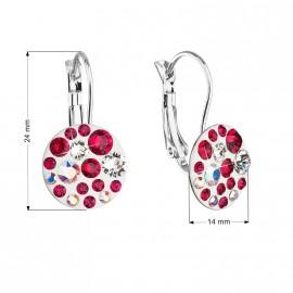 Náušnice bižuterie se Swarovski krystaly červené kulaté 51035.3