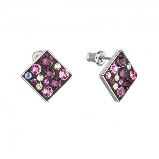 Náušnice bižuterie se Swarovski krystaly fialové kosočtverec 51032.3