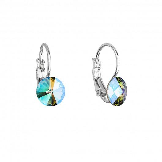 Náušnice bižuterie se Swarovski krystaly zelené fialové kulaté 51031.5