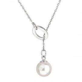 Stříbrný náhrdelník s krystaly Swarovski a bílou perlou 32062.1
