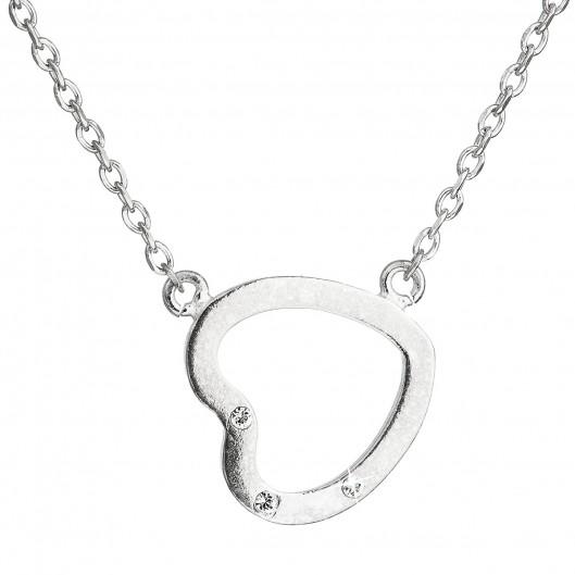 Stříbrný náhrdelník s krystaly Swarovski bílé srdce 32051.1