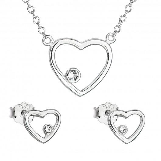 Sada šperků s krystaly Swarovski náušnice a náhrdelník bílé srdce 39163.1