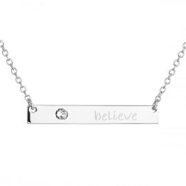 Stříbrný náhrdelník s krystalem Swarovski bílý obdélník 32060.1