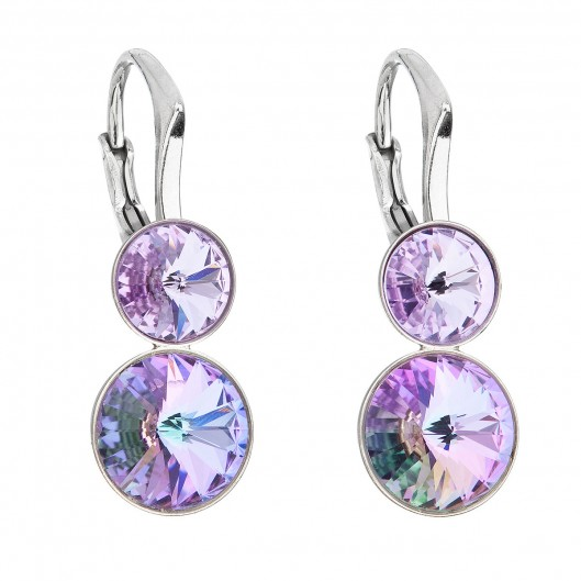 Stříbrné náušnice visací s krystaly Swarovski fialové kulaté 31233.5