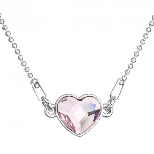 Stříbrný náhrdelník s krystalem Swarovski růžové srdce 32061.3