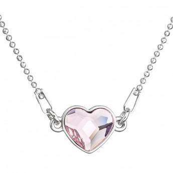 7dbe09d8f Stříbrný náhrdelník s krystalem Swarovski růžové srdce 32061.3 ...