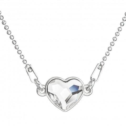Stříbrný náhrdelník s krystalem Swarovski bílé srdce 32061.1
