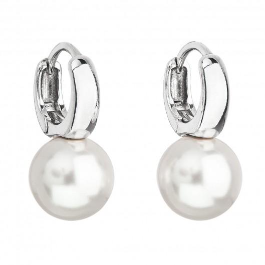 Stříbrné náušnice visací s perlou Swarovski bílé kulaté 31218.1