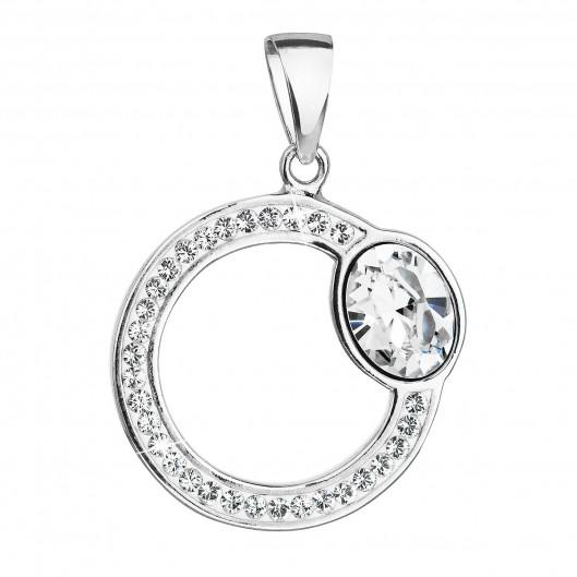 Stříbrný přívěsek s krystaly Swarovski bílý kruh 34215.1
