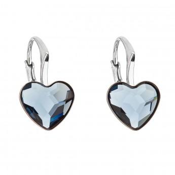 Stříbrné náušnice visací s krystaly Swarovski modré srdce 31240.3 ... 548fa72a10f