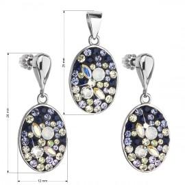 Sada šperků s krystaly Swarovski náušnice a přívěsek modrý ovál 39150.3
