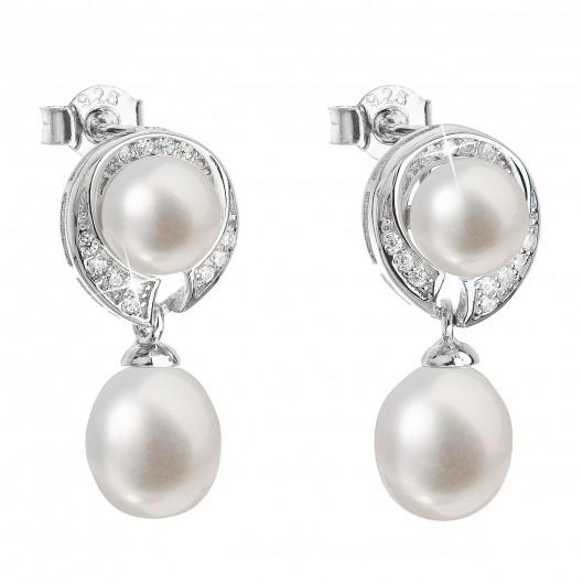 Stříbrné náušnice visací s bílou říční perlou 21039.1 38a4af2b810